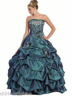 Women's Strapless Ball Gown Ruffles Long Prom Dress Corset Bodice New | eBay