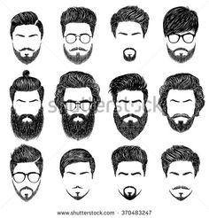 A set of mens hairstyles, beards and mustaches.Gentlmen haircuts and shaves. Digital
