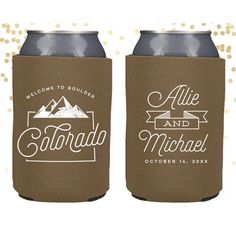 State Can Coolers – Moko and Company custom colorado can coolers. customize with names and date, choose font colors and koozie colors Colorado Wedding Favors, Wedding Koozies, Tote Bags Handmade, Lake Tahoe Weddings, Wedding Welcome Bags, Pink Houses, Wedding Events, Wedding Ideas, Drink Sleeves