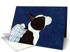 Boston Terrier Pet Sympathy Greeting card by Melinda Dalke
