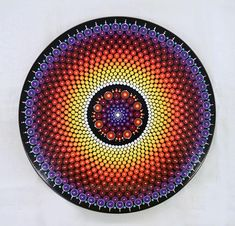 "Lazy Susan Hand Painted Dot Mandala, 15"" Diameter, Rainbow"