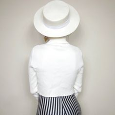 Vintage Womens White Boater Hat Summer Straw Sun by honeymoonmuse, $24.00