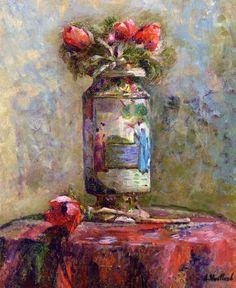Édouard Vuillard. Anémonas en un jarrón chino, 1901.