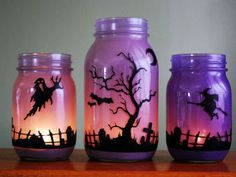love these painted mason jars.very cool looking for Halloween! Halloween Mason Jars - Ideas for Using Mason Jars for Halloween - Country Living Casa Halloween, Halloween Projects, Holidays Halloween, Happy Halloween, Halloween Party, Halloween Candles, Halloween Graveyard, Halloween Season, Diy Halloween Mason Jars
