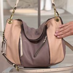 OrYany Shoulder Bag Style name Danielle in mushroom-multi color block with antique gold hardware. Medium sized handbag / shoulder bag. Made with super soft textured Italian leather. Magnet closure and fold over top. OrYany Bags Shoulder Bags