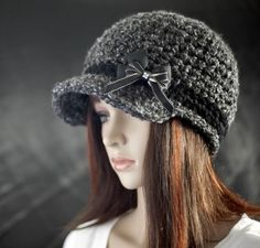 Gray and Black Newsboy Hat with Bow by MoonlightDreams on Etsy, $25.00