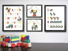 Nursery Art Prints. Children decor. Circus Elephant Decor. Children's Art. Kid wall art. Alphabet poster.  Letter and number art.. $94.00, via Etsy.