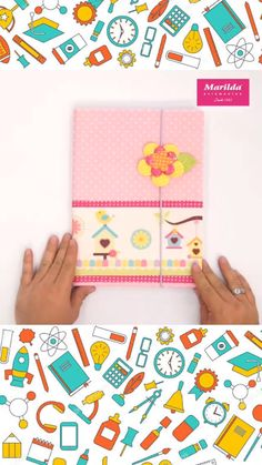 Inspiration decorated notebook - Do it yourself! Notebook decorated with felt and trims - Kids Crafts, Diy Crafts Hacks, Diy And Crafts, Cool Paper Crafts, Creative Arts And Crafts, Fabric Crafts, Decorate Notebook, Diy Notebook, Fabric Book Covers
