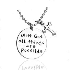 Inspirational Necklace Cross Pendant For Woman Teen Girls Inscribed God Jewelry Prime Gift.More info for cute small necklaces;jewelry necklaces;beautiful necklaces for her;gold charms for necklaces;wholesale necklaces could be found at the image url.(This is an Amazon affiliate link and I receive a commission for the sales)