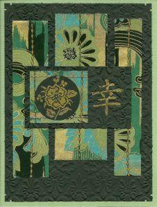 handmade card ... Asian theme ... greens ... OSA design #139 challenge ...