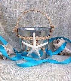 8b4dfc81a681c Beach wedding idea - Flower girl pail with white finger starfish. Flower  Girl Beach Wedding