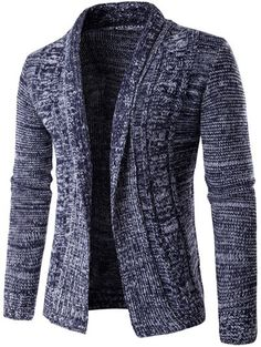 Turn-Down Collar Long Sleeve Knit Blends Cardigan