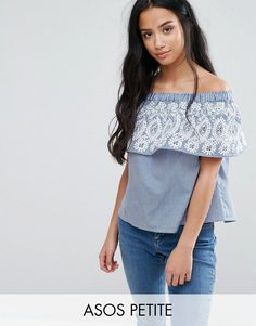 Buy it now. ASOS PETITE Stripe Off Shoulder Top with Embroidery - Multi. Petite top by ASOS PETITE, Lightweight woven cotton, Stretch neckline, Cut-out embroidered panel, Relaxed fit, Machine wash, 100% Cotton, Our model wears a UK 8/EU 36/US 4. ABOUT ASOS PETITE 5�3�/1.60m and under? The London-based design team behind ASOS PETITE take all your fashion faves and cut them down to size. Say goodbye to all your short-girl problems with our perfectly proportioned denim, day-to-night dresses ...