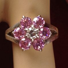 Vintage .925 Sterling Silver Pink Tourmaline White Sapphire Flower Ring BB832|We combine shipping|No Question Refunds|Bid over $60 for free shipping. Starting at $1