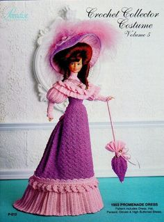 Crochet Barbie Doll 1903 Promenade Dress! Vintage Clothing Crochet Dolls To Skirt, Blouse, Bag, Boots and Hat Crochet. In this model you will learn how to make a vintage outfit made up of skirt and blouse accompanied by crochet accessories for Barbie and similar dolls. Free Pattern More Patterns Like This!