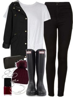 Outfit for winter with a coat and Wellington boots by ferned featuring black rubber boots MINKPINK twisted tee, 53 AUD / Topshop navy jersey, 155 AUD / Topshop stretchy skinny jeans, 85 AUD / Hunter black rubber boots, 160 AUD / Weave bag, 30 AUD /...
