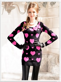 Morpheus Boutique  - Black Pink Heart Round Neck Long Sleeve Bow Knit Banded Sweater Dress, $89.99 (http://www.morpheusboutique.com/black-pink-heart-round-neck-long-sleeve-bow-knit-banded-sweater-dress/)