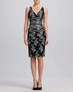 Floral V-Neck Jacquard Cocktail Dress by David Meister at Neiman Marcus.