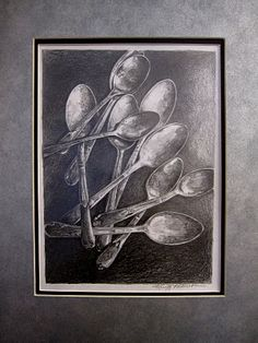 """Graphite Pencil Drawing of Silverware - Find the word """"LOVE"""" This was given to my daughter as a gift from the Flying Shoes Artist. The spoons belonged to our mother. Ap Drawing, Object Drawing, Drawing Lessons, Art Lessons, Drawing Techniques, Drawing Projects, Art Projects, Drawing Ideas, Observational Drawing"""