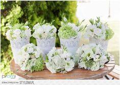 Ślub romantyczny, dekoracje ślubne, dekoracje weselne,… na Stylowi.pl Dyi Decorations, Wedding Decorations, First Communion, Christening, Flower Power, Glass Vase, Wedding Planning, Pretty, Diy
