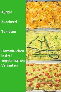 Der Flammkuchen ist ein Multitalent in der Familienküche. Wir zeigen dir drei vegetarische Varianten von Flammkuchen. Mit den gelingesicheren Rezepten backst du Kürbis-, Zucchetti- oder Tomatenflammkuchen im Handumdrehen. Deine Familie und deine Kinder werden diese Flammkuchen lieben! #Flammkuchen #vegetarisch #Familienküche #Kürbis #Zucchetti #Tomaten #LaCucinaAngelone Zucchini, Pizza, Tomatoes, Vegetarische Rezepte, Children, Squashes