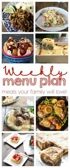 Weekly menu plan: Swedish meatballs; zucchini, tomato & ricotta pasta; one pot chicken & asparagus; white chicken caprese lasagne; bacon-wrapped chili dogs; ropa vieja; AND 2 desserts!!! | Foodie With Family