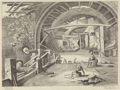 Willem van Nieulandt (II) | Smederij, Willem van Nieulandt (II), H. Bonnart, Lodewijk XIV (koning van Frankrijk), 1594 - 1635 | In een smederij slaat de smid op het aambeeld. Er liggen verschillende werktuigen op de grond. Links zit een jongen naast een klein kind. Rechts aan de zijkant hangt een grote blaasbalg. Op de voorgrond liggen onderdelen van een harnas.