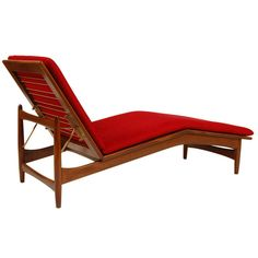 Ib Kofod-Larsen; Wood and Brass Chaise Longue for Selig, c1960.