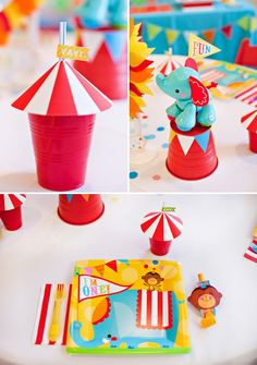 DIY Big Top Tent Cups and Circus Party Plates