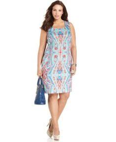 Jones New York Signature Plus Size Dress, Sleeveless Printed Sheath