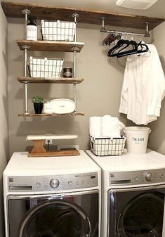 Top 40 Small Laundry Room Ideas and Designs 2018 Small laundry room ideas Laundry room decor Laundry room storage Laundry room shelves Small laundry room makeover Laundry closet ideas And Dryer Store Toilet Saving Tiny Laundry Rooms, Laundry Room Shelves, Farmhouse Laundry Room, Laundry Closet, Laundry Room Organization, Laundry Room Design, Laundry In Bathroom, Organization Ideas, Storage Ideas