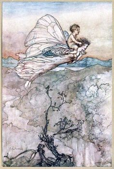 """""""Bear the changeling child to my bower in fairy land, I then did ask of her [Titania] ; Which straight she gave me, and her fairy sent, To bear him to my bower in fairy land"""" - by Arthur Rackham, Illustration used for Shakespeare's """"Midsummer Night's Dream"""""""