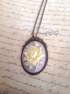 Purple Rose Cameo Necklace Rose Cameo by PennyWhistleJewels
