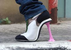 Original work of art by Kobi Levi - love this! The heel looks like you're pulling gum up off the street!