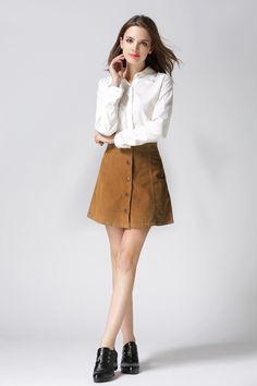 Corduroy High Waisted Button A Line Skirt-Skirts-Look Love Lust, https://www.looklovelust.com/products/corduroy-high-waisted-button-a-line-skirt