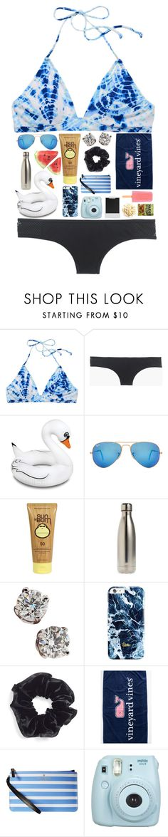 gonna be beachin' it tomorrow by kate-elizabethh on Polyvore featuring Victoria's Secret, J.Crew, Big Mouth, Kate Spade, Tiffany & Co., L. Erickson, Ray-Ban, Sun Bum, S'well and Fujifilm