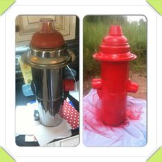 DYI -fire hydrant for a puppy themed birthday party. 2 small trash cans on top of each other, a drip pan, the top to one of the trash cans, a (new) plunger head, and condiment cup. Spray can tops for the knobs on the side. Spray paint red and WALLLA! I hooked everything together with hot glue.