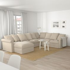 GRÖNLID Sectional, corner, with chaise, Inseros white - with chaise/Inseros white - IKEA At Home Furniture Store, Modern Home Furniture, Ikea Bank, Deep Seat Cushions, Ikea Family, Large Sofa, Corner Sofa, Room Colors, Living Room