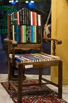 Funky fun use of old books to chair. Upcycled: New Uses for Old Chairs