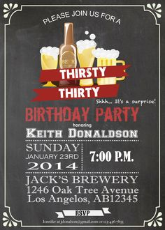 Men 30th Birthday Chalkboard Invitation. Adult Birthday Party , beer birthday. Surprise Birthday. Thirsty Thirty 30th birthday invite AB11