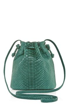 Emerald Python Mini Bucket Bag by Hunting Season for Preorder on Moda Operandi