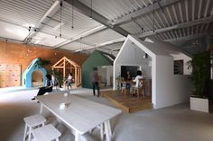 Completed in 2016 in Omihachiman, Japan. Images by Fuji-Shokai. Multipurpose Office Space We were requested by our client to renovate a warehouse to make a multipurpose office space which everyone can easily come. Space Architecture, Contemporary Architecture, Interactive Architecture, Commercial Architecture, Architect Logo, Architect House, Shiga, Co Working, Kid Spaces