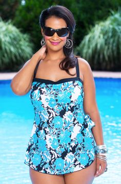 Women's Plus Size Swimwear - Maxine Fine Romance Bandeau Sarong 1 Pc Swimsuit