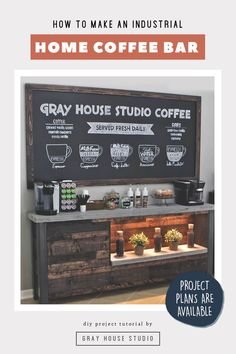 In this home DIY project tutorial Gray House Studio shows how to build an industrial style home coffee bar. Coffee Bar building plans are available for this DIY project. This is a beautiful large statement piece in a kitchen or dining room. Diy Home Bar, Diy Bar, Bars For Home, Bar Building Plans, Bar Plans, Coffee Bars In Kitchen, Coffee Bar Home, Coffee Corner, Cozy Coffee Shop
