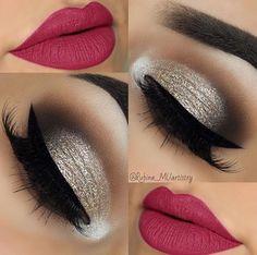 Love this red glitter make up! Beautiful Eye Makeup, Pretty Makeup, Love Makeup, Makeup Inspo, Makeup Art, Makeup Inspiration, Make Up Looks, Beauty Make-up, Girls Makeup