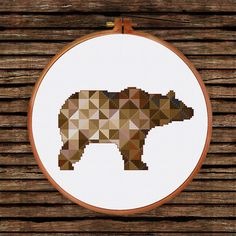Brown Geometric Bear cross stitch pattern| Modern triangle counted chart…