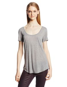 AG Adriano Goldschmied Women's Wren Pocket Tee, Heather Gray, Medium. Front left breast pocket. Scoop hem.