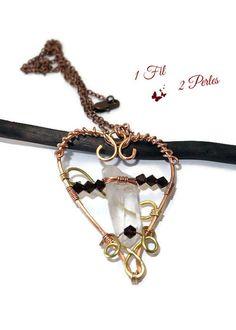 Pendentif Coeur Wire Wrapping Cristal de Roche Duo par 1fil2perles
