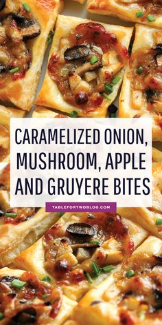 Appetizers Recipes Caramelized Onion, Mushroom, Apple, and Gruyere Bites are the PERFECT appetizer! Thanksgiving Appetizers, Holiday Appetizers, Thanksgiving Recipes, Warm Appetizers, Puff Pastry Appetizers, Mushroom Appetizers, Spanish Appetizers, Best Appetizer Recipes, Stuffed Mushrooms