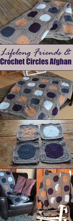 Lifelong Friendship & Crochet Circles Afghan - Granny squares made from circles stitched into an afghan. Three free tutorials. Blue, light blue, purple, beige, gray. #purplemonkeymayhem #crochet #circles #afghan #friendship